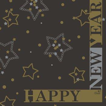 Ubrousek 33x33 3V New Year Black 50ks