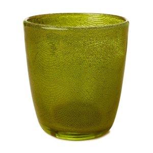 Candle 10,5x9cm Holder Raindrop Green